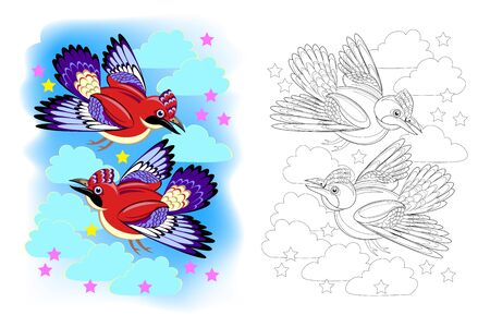 Colorful and black and white page for coloring book for kids. Illustration of two cute flying jay birds. Printable worksheet for children school textbook. Online education. Flat cartoon vector. Ilustrace