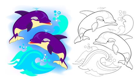 Colorful and black and white page for kids coloring book. Illustration of two cute killer whales playing in sea. Printable worksheet for children school textbook. Online education. Flat cartoon vector.