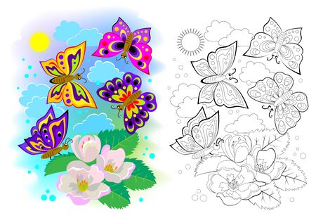 Colorful and black and white page for kids coloring book. Illustration of butterflies flying between flowers. Printable worksheet for children school textbook. Online education. Flat cartoon vector. Illustration