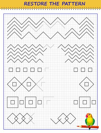 Educational page on square paper for little children. Printable worksheet for kids school exercise book. Draw the missing lines and restore the pattern. Developing skills for tracing and writing. Stock Illustratie