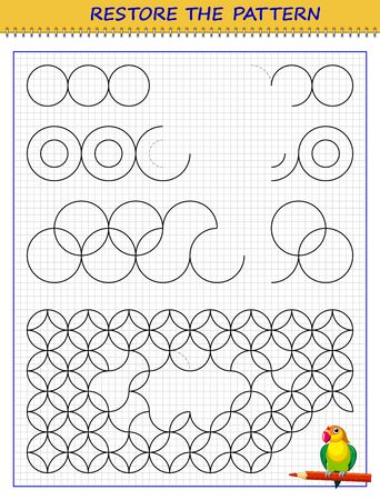 Educational page on square paper for children. Printable worksheet for kids school exercise book. Find regularity, draw missing lines and restore pattern. Developing skills for tracing and writing.