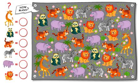 Math education for children. Count quantity of animals in zoo and write numbers. Developing counting skills. Printable worksheet for kids school textbook. Logic puzzle game. Flat vector illustration. Ilustrace