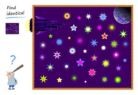 Logic puzzle game for children and adults. Find two identical stars. Printable page for kids brain teaser book. Developing counting skills. IQ test. Flat vector cartoon illustration. Online education. Ilustrace