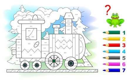 Math education for little children. Coloring book. Mathematical exercises on addition and subtraction. Solve examples and paint the train. Developing counting skills. Printable worksheet for kids.