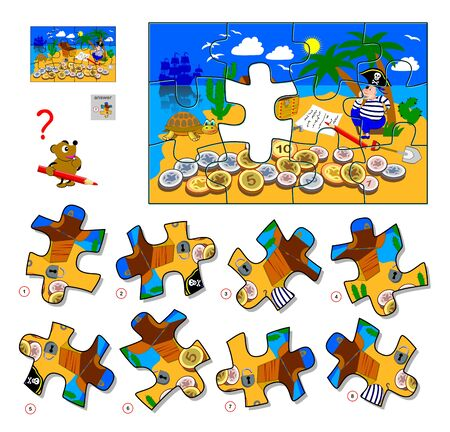 Logic puzzle game for children and adults. Find the missing piece of picture. Illustration of pirate on treasure island. Printable page for kids brain teaser book. IQ test. Flat cartoon vector.