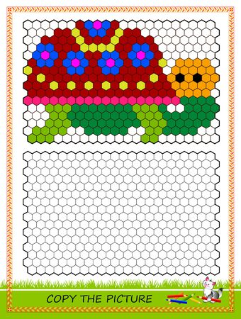 Educational game for kids. Copy picture. Printable worksheet for children school textbook. Draw turtle by example. Developing coloring and counting skills. Baby coloring book. Online playing. Çizim