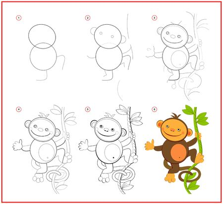 How to draw cute toy monkey. Educational page for children. Creation step by step animal illustration. Printable worksheet for kids school exercise book. Online education.