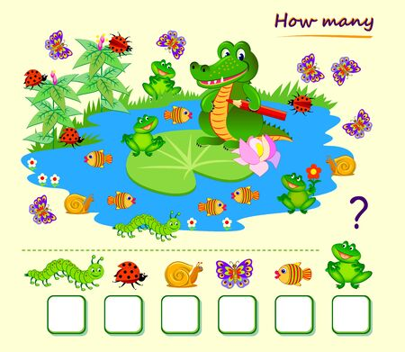 Math education for children. Count quantity of animals around crocodile on the lake and write numbers. Printable worksheet for kids school textbook. Online playing. Flat vector illustration. Çizim