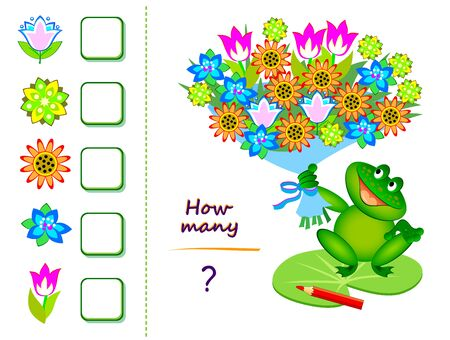 Math education for children. Count quantity of flowers in bouquet and write numbers. Worksheet for school textbook. Kids activity sheet. Online playing. Game task for attention. Flat illustration.