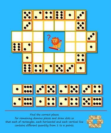 Logic puzzle game. Sudoku with dominoes. Find the correct places for remaining domino pieces and draw dots so that each of rectangles, each horizontal and each vertical line contains different quantity from 1 to 6 points. Play online. Ilustracja