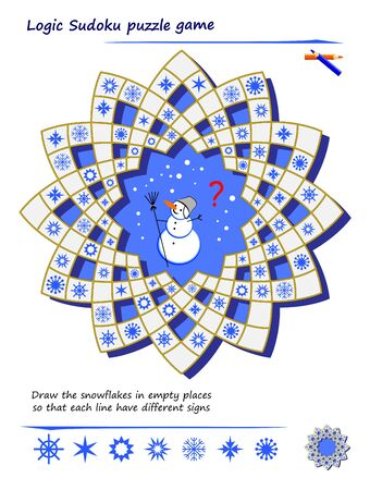 Logic Sudoku puzzle game for children and adults. Draw the snowflakes in empty places so that each line have different signs. Printable page for children brain teaser book. Play online.
