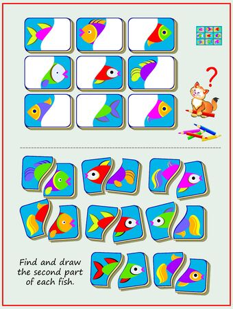 Educational page for kids textbook. Find and draw the second part of each fish. Worksheet for baby book. Developing children skills for drawing and coloring. Flat vector illustration. Online playing. Ilustração Vetorial