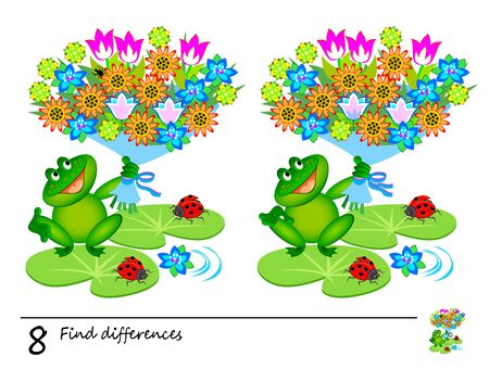 Find 8 differences. Logic puzzle game for children and adults. Page for kids brain teaser book. Illustration of cute frog with bouquet of flowers. Task for attentiveness. Play online. Developing counting skills.