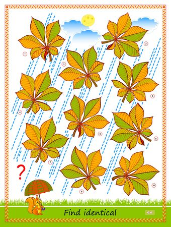 Logic puzzle game for children and adults. Find two identical leaves. Printable page for kids brain teaser book. IQ test. Flat vector cartoon illustration. Task for attentiveness. Play online. Vecteurs