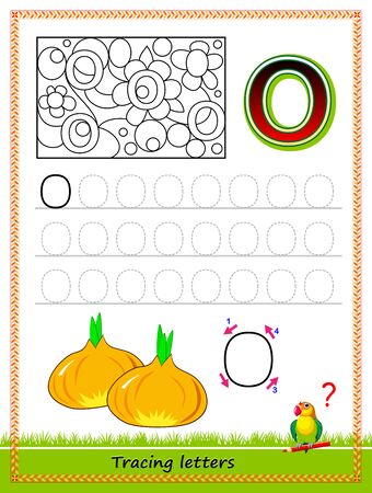 Worksheet for tracing letters. Find and paint all letters O. Kids activity sheet. Educational page for children coloring book. Developing skills for writing and tracing ABC. Online education.
