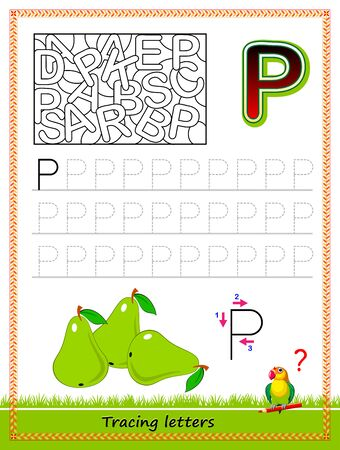 Worksheet for tracing letters. Find and paint all letters P. Kids activity sheet. Educational page for children coloring book. Developing skills for writing and tracing ABC. Online education.