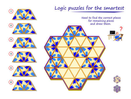 Logic puzzle game for children and adults. Need to find the correct places for remaining pieces and draw them. Developing spatial thinking. Printable page for kids brain teaser book. Flat illustration. Banco de Imagens - 150709938