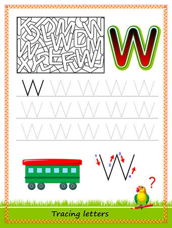 Worksheet for tracing letters. Find and paint all letters W. Kids activity sheet. Educational page for children coloring book. Developing skills for writing and tracing ABC. Online education.