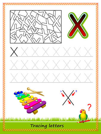 Worksheet for tracing letters. Find and paint all letters X. Kids activity sheet. Educational page for children coloring book. Developing skills for writing and tracing ABC. Online education.