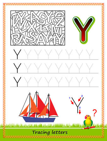 Worksheet for tracing letters. Find and paint all letters Y. Kids activity sheet. Educational page for children coloring book. Developing skills for writing and tracing ABC. Online education.