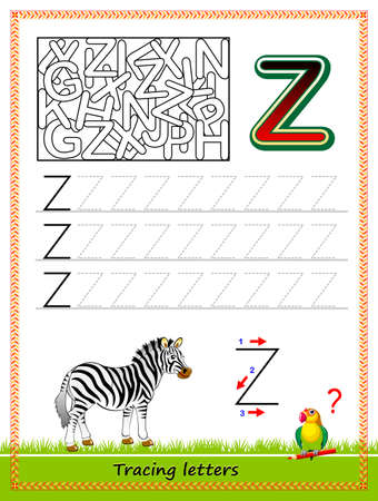 Worksheet for tracing letters. Find and paint all letters Z. Kids activity sheet. Educational page for children coloring book. Developing skills for writing and tracing ABC. Online education. Vectores