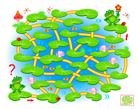 Logic puzzle game with labyrinth for children and adults. Help the little frog find the way in till his friend. Printable worksheet for kids brain teaser book. IQ test. Online playing. Zdjęcie Seryjne - 150968610