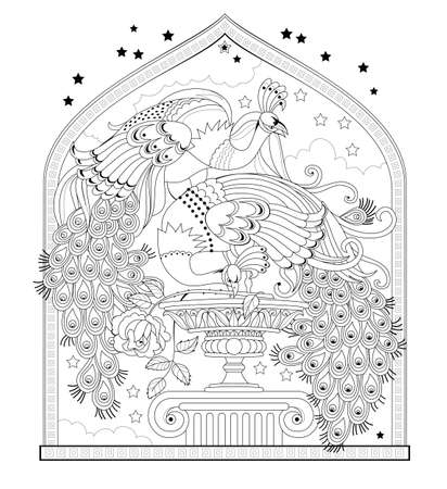 Page for coloring book. Illustration of couple beautiful peacocks from eastern fairy tale. Worksheet for children and adults. Modern print for fashion, embroidery, decoration. Hand-drawn vector.