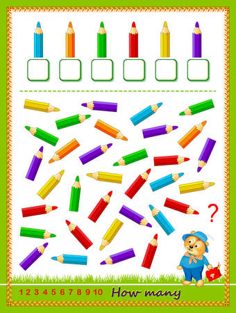 Mathematical education for children. Count quantity of pencils and write numbers. Developing counting skills. Logic puzzle game. Worksheet for school textbook. Kids activity sheet. Play online. Vectores