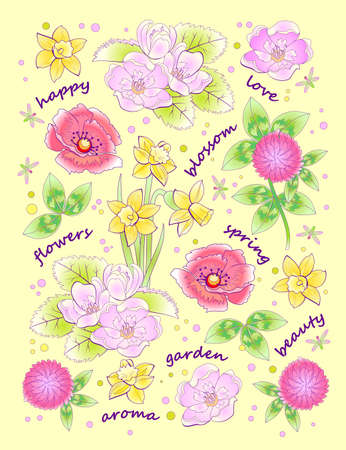Fantasy background for modern print with beautiful spring flowers and lettering. Illustration with scattered plants for clothes and fabric. Vector cartoon image. Ilustración de vector