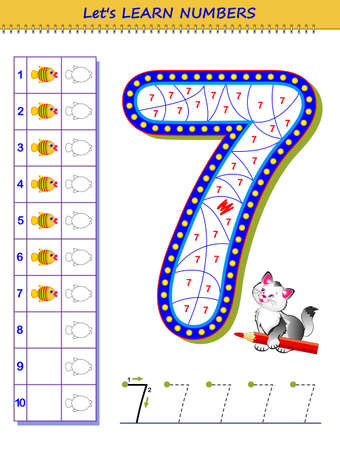 Let's learn numbers. Educational game for children. Printable worksheet for school textbook. Kids activity sheet. Developing counting and writing skills. Trace number 7. Play online. Coloring book.