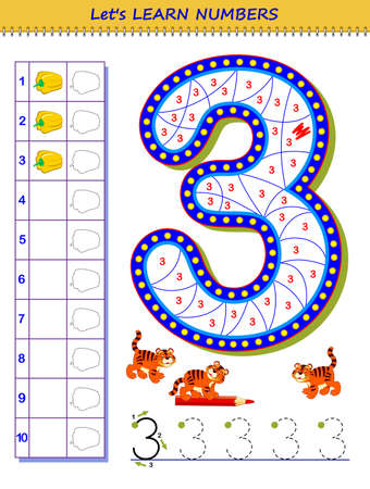 Let's learn numbers. Educational game for children. Printable worksheet for school textbook. Kids activity sheet. Developing counting and writing skills. Trace number 3. Play online. Coloring book. Zdjęcie Seryjne - 150968624