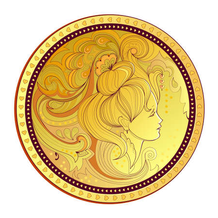 Gold coin with woman's portrait. Modern print for clothes and fabric. Medallion with fairies head in fairy tale environment. Illustration of beautiful girls silhouette with fantasy hairstyle. Illustration