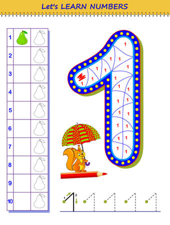 Let's learn numbers. Educational game for children. Printable worksheet for school textbook. Kids activity sheet. Developing counting and writing 1. Trace number nine. Play online. Coloring book.