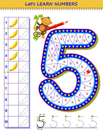 Let's learn numbers. Educational game for children. Printable worksheet for school textbook. Kids activity sheet. Developing counting and writing skills. Trace number 5. Play online. Coloring book. Illustration