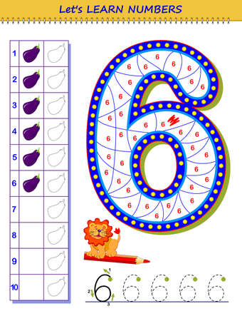 Let's learn numbers. Educational game for children. Printable worksheet for school textbook. Kids activity sheet. Developing counting and writing skills. Trace number 6. Play online. Coloring book. Illustration