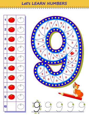 Let's learn numbers. Educational game for children. Printable worksheet for school textbook. Kids activity sheet. Developing counting and writing skills. Trace number nine. Play online. Coloring book.