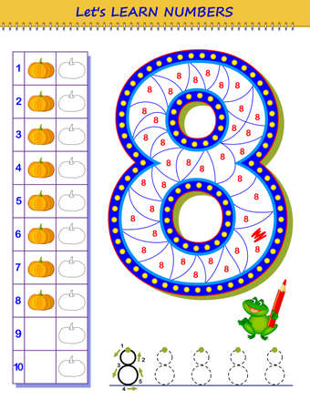 Let's learn numbers. Educational game for children. Printable worksheet for school textbook. Kids activity sheet. Developing counting and writing skills. Trace number 8. Play online. Coloring book. Vectores