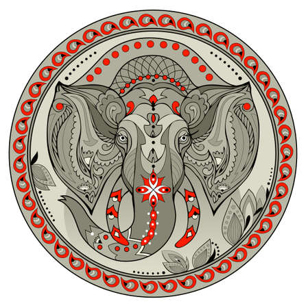 Medallion with Indian elephant head. Coin with eastern decoration and fairy tale environment. Modern print for clothes and fabric. Illustration of logo for animal lovers. Abstract flat vector. Zdjęcie Seryjne - 152020195