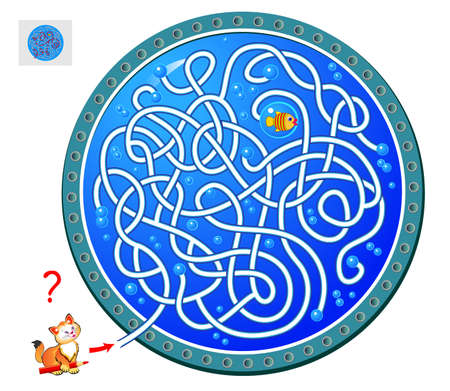 Logic puzzle game with labyrinth for children and adults. Help the cat catch the fish. Find the way and draw the line. Worksheet for kids brain teaser book. IQ test. Online playing. Flat vector. Vectores