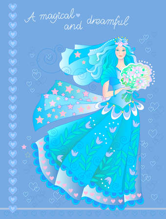 Illustration of beautiful bride with bouquet of flowers. Greeting card for marriage. Poster for wedding dress salon. Magical and dreamful girls portrait. Fashionable print. Cover for present or book. Illustration