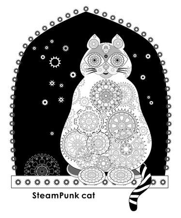 Abstract illustration of futuristic fantastic cat. Steampunk style background with gears. Fashionable print for clothes and fabric. Black and white image for poster. Flat vector.