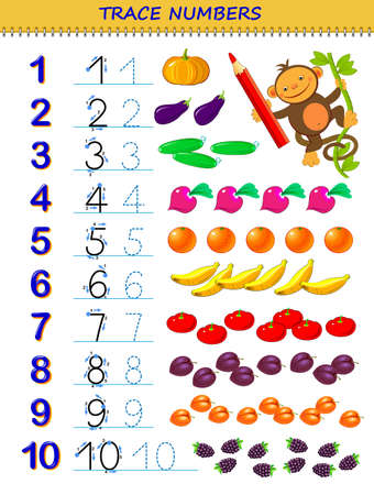 Educational page for kids with numbers from 1 to 10. Printable worksheet for children textbook. Developing skills of counting, writing and tracing. Play online. Back to school. Vector image. Illustration