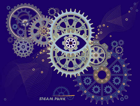 Steam punk background with gears. Abstract illustration with eye, circles, mechanical wheels, geometry and universe. Poster for scientific research. Modern print for clothes and fabric. Flat vector. Illustration