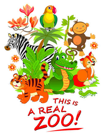 This is a real zoo. Illustration of cute animals. Fantasy background for zoological garden visitors. Modern print for kids clothes and fabric. Flat vector cartoon image with lettering. Zdjęcie Seryjne - 151147441