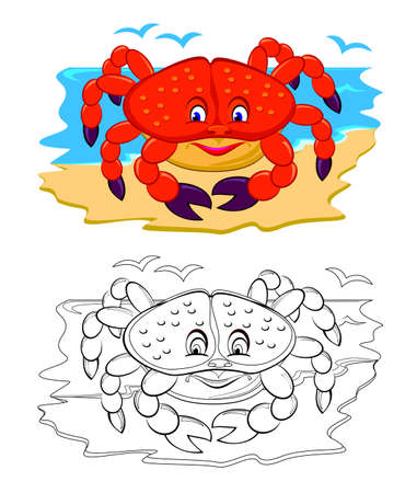Colorful and black and white page for coloring book. Illustration of cute toy crab. Printable worksheet for children exercise book. Online education. Flat cartoon vector. Animals for kids. Illustration
