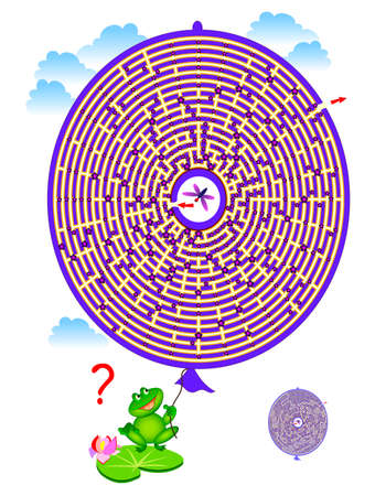 Logic puzzle game with labyrinth for children and adults. Help the fly find the way out of balloon. Draw the line. Worksheet for kids brain teaser book. IQ test. Online playing. Flat vector.