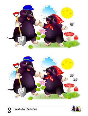 Find 8 differences. Logic puzzle game for children and adults. Page for kids brain teaser book. Illustration of two cute moles planting a flower. Task for attentiveness. Play online. Math education.