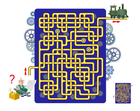 Logic puzzle game with labyrinth for children and adults. Help the engineer find the way to the locomotive. Draw the line. Worksheet for kids brain teaser book. IQ test. Online playing. Flat vector.