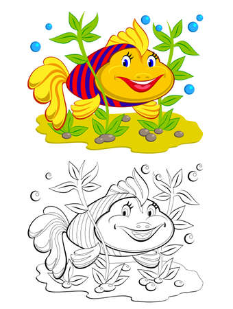 Colorful and black and white page for coloring book. Illustration of cute toy goldfish. Printable worksheet for children exercise book. Online education. Flat cartoon vector. Animals for kids.