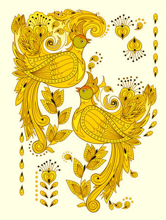 Abstract illustration of fantastic firebirds. Stylized couple of peacocks with decoration. Fashionable print for clothes, fabric, background and embroidery. Rich ornate golden colors. Flat vector.